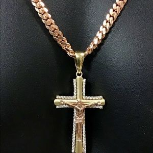 Other - 14K Rose/Yellow Gold Jesus Crucifix & Cuban Chain